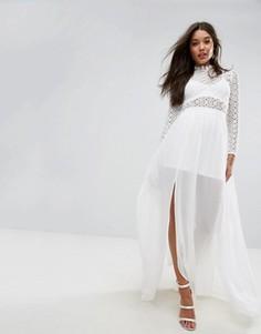 Платье макси с американской проймой и отделкой кроше Oh My Love - Белый Missguided
