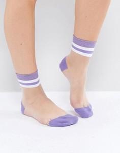 Полупрозрачные полосатые носки ASOS - Фиолетовый