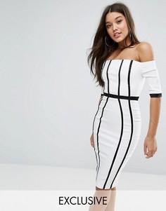 Платье-футляр с атласными бретельками Vesper - Белый