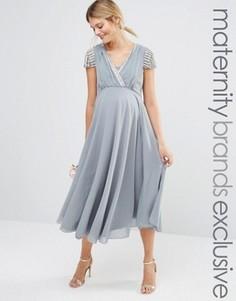 Платье миди с короткими рукавами и запахом спереди Maya Maternity - Серый