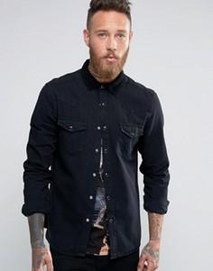 Черная свободная джинсовая рубашка в стиле вестерн ASOS - Черный