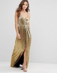 Золотистое платье макси на бретельках Millie Mackintosh - Золотой