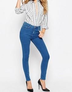 Насыщенно-синие укороченные джинсы скинни ASOS RIDLEY - Синий