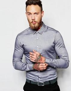 Серая зауженная рубашка с длинными рукавами ASOS - Серый