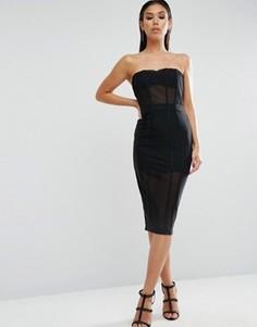 Платье-футляр с сетчатыми вставками ASOS PREMIUM - Черный