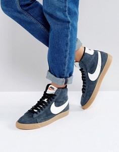 Черные замшевые кроссовки средней высоты Nike Blazer - Черный