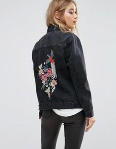Джинсовая куртка с цветочной вышивкой New Look - Черный