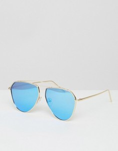 Солнцезащитные очки-авиаторы с голубыми зеркальными линзами Jeepers Peepers - Синий