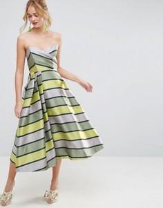 Полосатое платье миди для выпускного ASOS SALON - Мульти