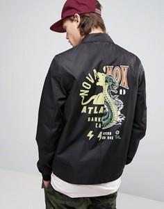 Черная спортивная куртка с принтом на спине ASOS - Мульти