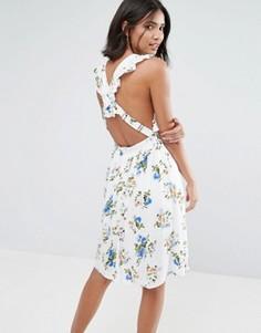 Платье с принтом и перекрестами на спине Unique21 - Синий