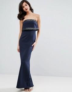 Платье-бандо макси с кроп-топом и отделкой ASOS - Серый