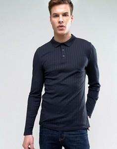 Облегающая футболка-поло в рубчик с длинными рукавами ASOS - Темно-синий