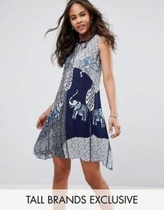 Свободное платье с ацтекским принтом слонов Glamorous Tall - Темно-синий