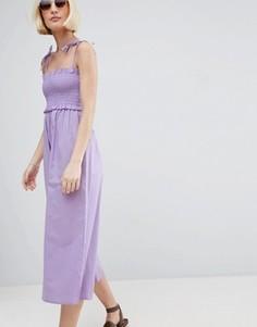 Хлопковый комбинезон с присборенным лифом ASOS - Фиолетовый