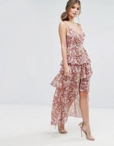 Платье макси с оборками и принтом пейсли Boohoo - Розовый
