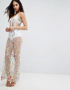 Платье макси с цветочной вышивкой Boohoo - Белый
