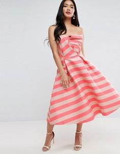 Платье миди для выпускного с вырезом лодочкой и полосками ASOS - Розовый