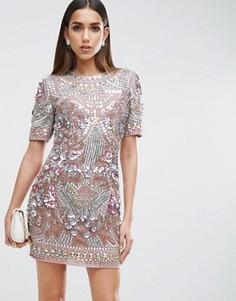 Цельнокройное платье-премиум мини с отделкой ASOS RED CARPET - Фиолетовый