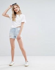 Джинсовые шорты с рваной отделкой New Look - Синий