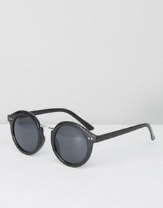 Черные круглые солнцезащитные очки Pieces - Золотой