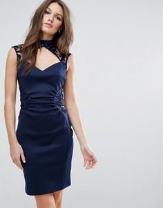 Платье-футляр с кружевной отделкой Lipsy - Темно-синий