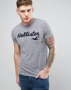 Зеленая узкая меланжевая футболка с логотипом Hollister - Серый