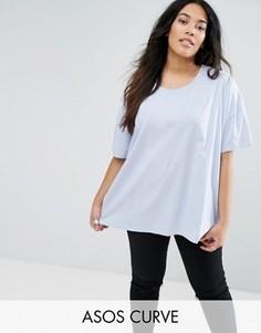 Свободная футболка ASOS CURVE - Синий