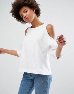 Блузка с открытыми плечами и пышными рукавами Monki - Белый