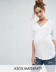 Oversize-футболка в рубчик с V-образным вырезом ASOS Maternity - Белый