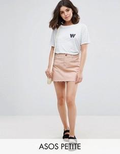 Розовая джинсовая юбка с заниженной талией ASOS PETITE - Розовый