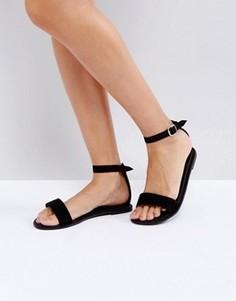 Замшевые сандалии с ремешком на щиколотке Boohoo - Черный