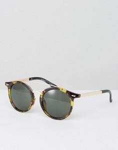 Солнцезащитные очки в черепаховой оправе с планкой сверху AJ Morgan - Коричневый