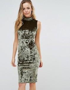 Облегающее бархатное платье с высоким воротом Wal G - Зеленый