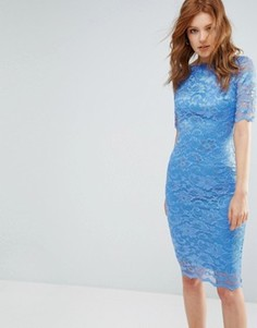Кружевное платье с короткими рукавами City Goddess - Синий