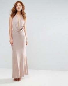 Платье макси с глубоким вырезом City Goddess - Бежевый
