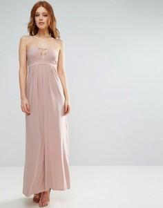 Длинное платье бандо с отделкой лямками City Goddess - Бежевый