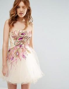 Короткое приталенное платье с декоративной отделкой City Goddess - Розовый