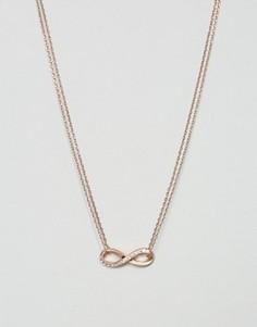 Ожерелье цвета розового золота с подвеской в виде знака бесконечности Pilgrim - Золотой