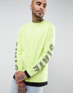 Супердлинная футболка с принтом и вставками ASOS - Зеленый