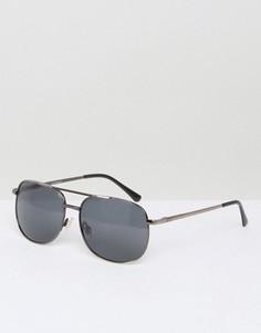Квадратные солнцезащитные очки в оправе из темно-серого металла AJ Morgan Gunny - Серебряный