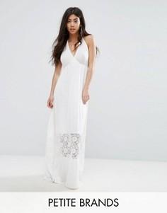 Платье макси с кружевной вставкой Boohoo Petite - Белый