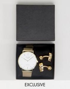 Подарочный набор в виде часов золотого цвета с сетчатым ремешком и запонок в виде черепа Reclaimed Vintage - Золотой