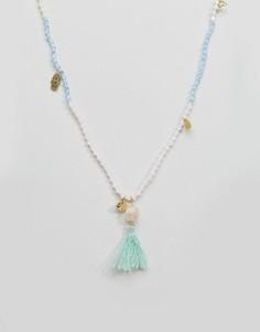 Ожерелье с кисточкой и эффектом омбре Orelia Ibiza - Зеленый
