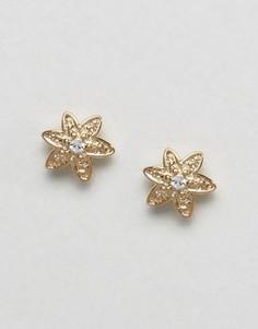 Позолоченные серьги-гвоздики с цветком из страз Orelia - Золотой