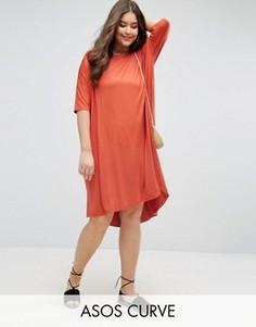 Свободное платье-футболка с закругленным низом ASOS CURVE - Оранжевый