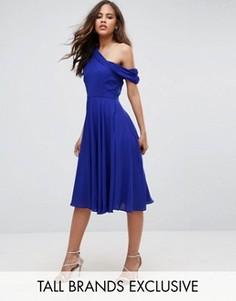 Платье миди на одно плечо с драпировкой John Zack Tall - Синий