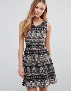 Платье со слонами Yumi - Черный