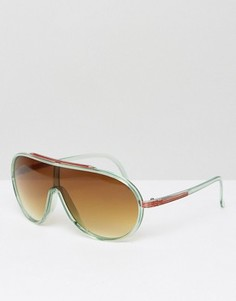 Солнцезащитные очки в зеленой оправе с прямым верхом Jeepers Peepers Felix - Зеленый