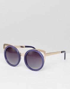 Солнцезащитные очки в синей оправе с золотистой отделкой Jeepers Peepers - Синий
